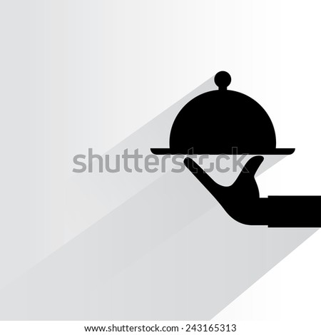 food serving on white background, flat and shadow theme - stock vector