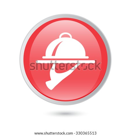 Food Serving Tray Platter. red button. vector. - stock vector
