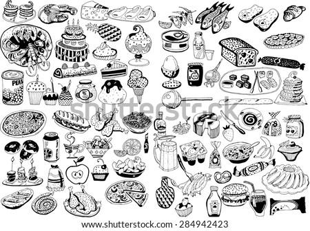 Food Set - stock vector