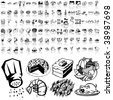 Food set of black sketch. Part 6-2. Isolated groups and layers. - stock vector