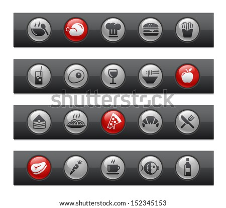 Food - Set 1 of 2 // Button Bar Series  - stock vector