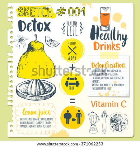 Food sketchbook. Useful drinks in sketch style.Vector illustration with natural juices drinks: smoothies, lemonade and kitchen equipment. Detox. Healthy lifestyle. - stock vector