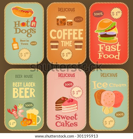 Food Stickers Tags Collection in Retro Design. Mini Posters Vintage Labels Set. Vector Illustration. - stock vector