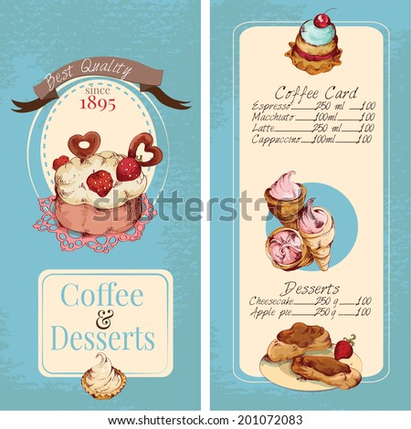 Food sweets bakery and pastry sketch colored desserts menu template vector illustration - stock vector