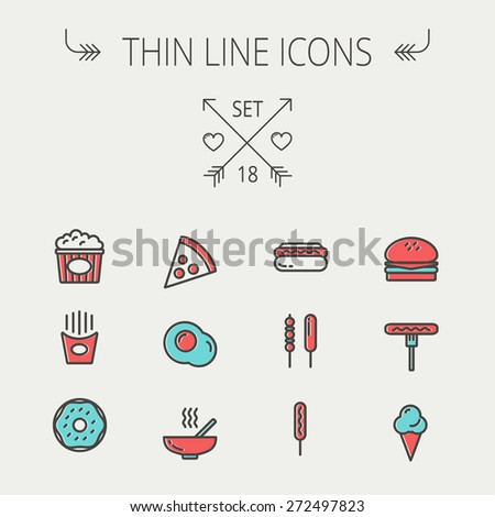 Food  thin line icon set for web and mobile. Set includes- cupcakes, spoon and fork, plate, kettle, casserole, hot meal, frying pan icons. Modern minimalistic flat design. Vector icon with dark grey - stock vector