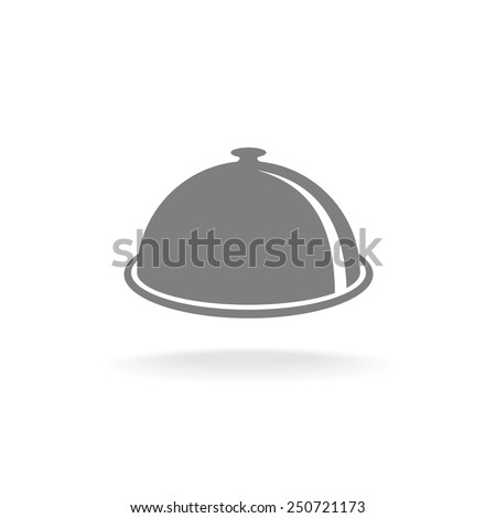 Food tray cover symbol. One color, perspective view. Menu title logo. - stock vector