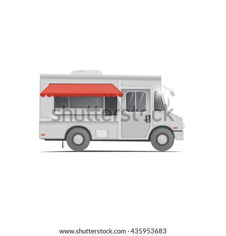 Food truck. Beverages, confectionery, coffee and cakes, ice cream, hot dog, burger, donut, candy, fruit. Flat design vector illustration. - stock vector