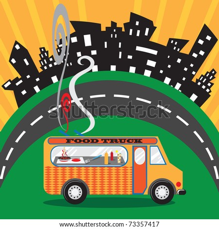 Food Truck in an Urban Setting - stock vector