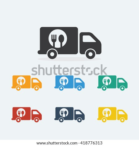 Food Truck vector icons flat style. Truck with spoon and fork on white background. Food Truck Logo Template. Vector illustration.  - stock vector