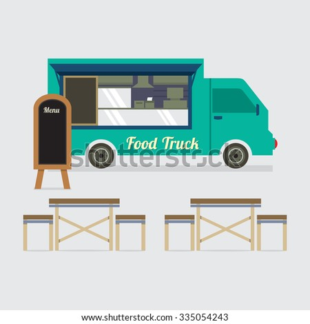 Food Truck With Table Set Vector Illustration - stock vector