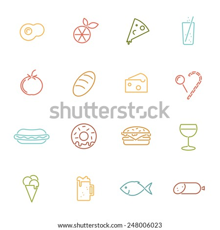 Food vector line icons set. Collection of 16 food related colored line icons vector illustration - stock vector