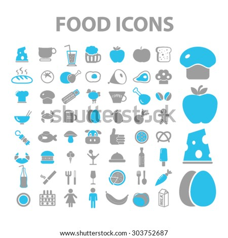 food, vegetables, grocery icons, signs, illustrations set, vector - stock vector