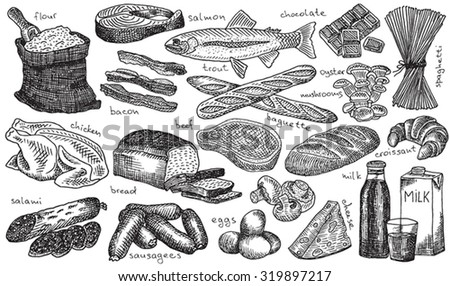 food, wheat, loaf, baguette, bread, chicken, salami, sausage, milk, beef, ham, cheese, trout, eggs, chocolate, champignons, oyster mushrooms, flour, spaghetti, croissant, salmon, bacon - stock vector
