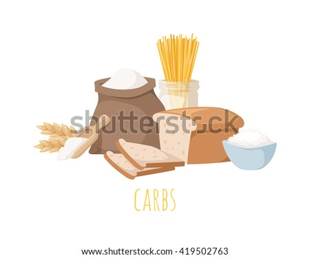Foods high in carbohydrate, isolated on white. Carbohydrate food bread diet meal healthy and rice loaf white carbohydrate food. Bakery fresh eating carbohydrate food ingredient dry spaghetti food. - stock vector