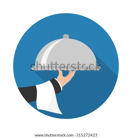 Foods Service icon with long shadow. Food Serving tray platter. Simple flat vector. - stock vector