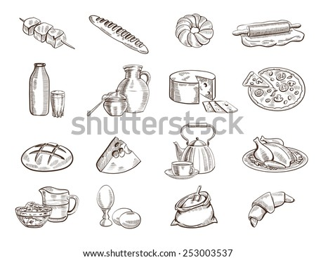 foodstuffs set of hand drawn vector sketches on a white background - stock vector