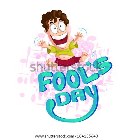 Fool's Day illustration concept with funny man - stock vector