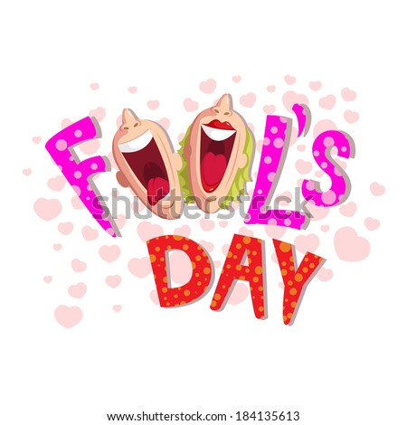 Fool's Day illustration concept with laughing face - stock vector