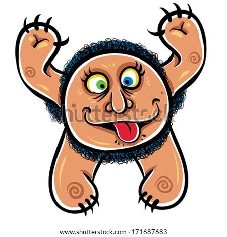 Foolish cartoon monster, vector illustration. - stock vector