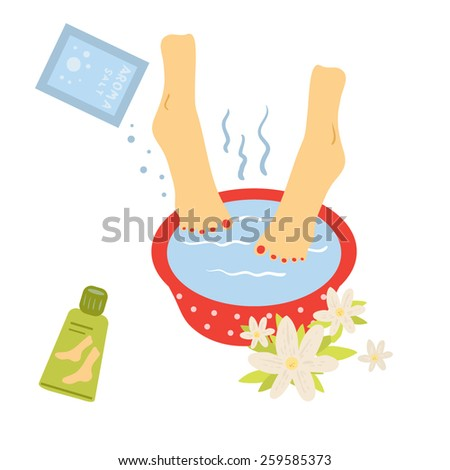 Foot bath. Illustration of foot care. - stock vector