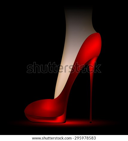 foot in the scarlet shoe - stock vector