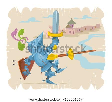 Foot knight in battle. Cartoon, 1, vector - stock vector