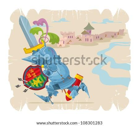 Foot knight in battle. Cartoon, 3, vector - stock vector
