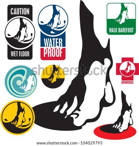 Foot labels, element for design. Wet floor sign. - stock vector