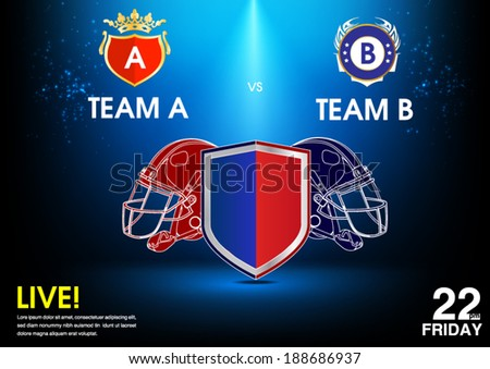 football and rugby match announcement poster - stock vector