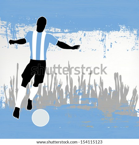 Football Argentina, Vector Soccer player over a grunged Argentinian Flag and cheering crowd - stock vector