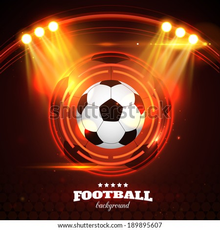 Football background with soccer ball, spotlights, abstract stadium and place for text.  - stock vector