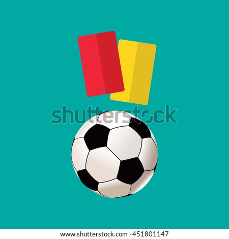 Football ball and cards flat icon - stock vector