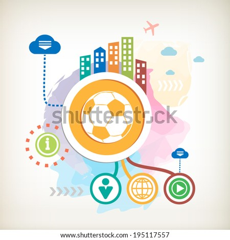 Football ball and city on abstract colorful watercolor background with different icon and elements. Design for the print, advertising, banner. - stock vector