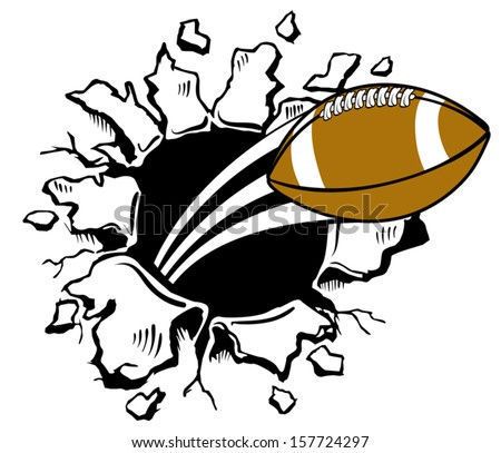 Football bursting through wall - stock vector