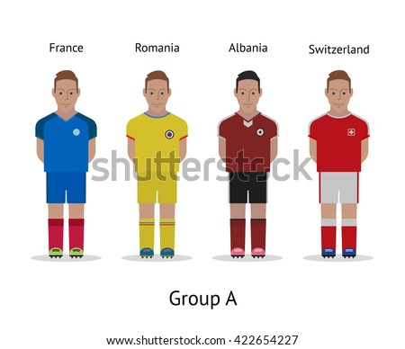 Football championship in France 2016. National soccer players kit Group A - France, Romania, Albania, Switzerland. Vector illustration. - stock vector