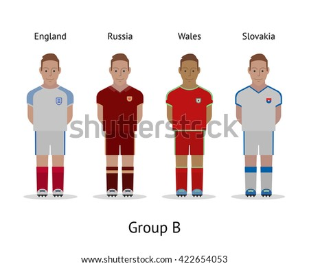 Football championship in France 2016. National soccer players kit Group B - England, Russia, Wales, Slovakia. Vector illustration. - stock vector