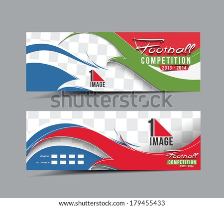 Football Competition Header & Banner Design - stock vector