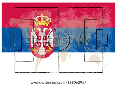 football court on serbia flag background vector illustration - stock vector