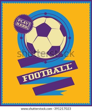 Football emblem with ribbon. Sport logo. - stock vector