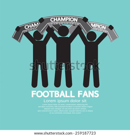 Football Fans With Champion Scarves Vector Illustration  - stock vector
