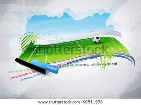 football field painted with graffiti on the wall - stock vector