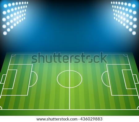 Football Field with Floodlights. Illustration Vector. - stock vector