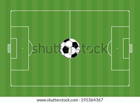 Football field with football - stock vector