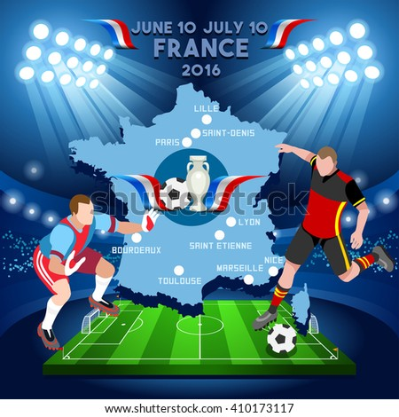 Football Game Infographic France 2016 European Championship Soccer Players. Final qualified countries Soccer Player. Europe Tournament group stage participating teams. Isometric 3D Football Players. - stock vector