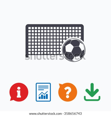 Football gate and ball sign icon. Soccer Sport goalkeeper symbol. Information think bubble, question mark, download and report. - stock vector
