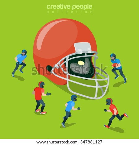 Football helm protection hat flat 3d isometry isometric sports concept web vector illustration. Huge helmet and match play players team around. Creative people collection. - stock vector