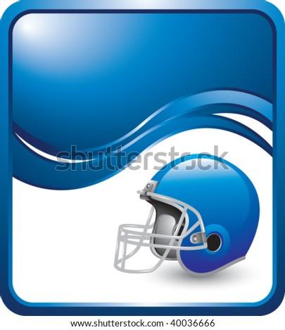 football helmet on blue wave backdrop - stock vector