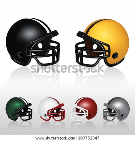 Football Helmets (Set of colorful football helmets) - stock vector