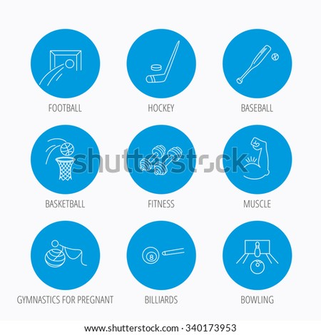 Football, ice hockey and fitness sport icons. Basketball, muscle and bowling linear signs. Billiards and gymnastics for pregnant icons. Blue circle buttons set. Linear icons. - stock vector