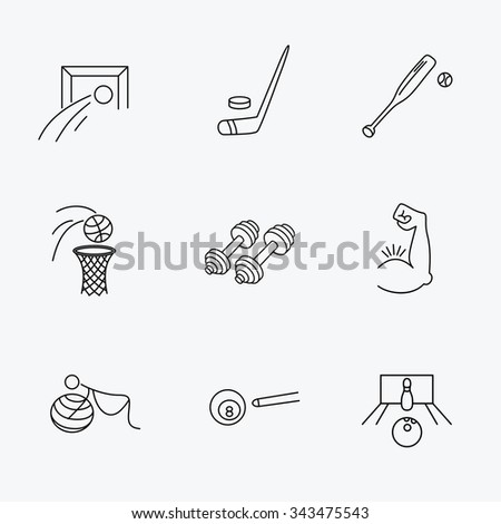 Football, ice hockey and fitness sport icons. Basketball, muscle and bowling linear signs. Billiards and gymnastics for pregnant icons. Linear black icons on white background. - stock vector